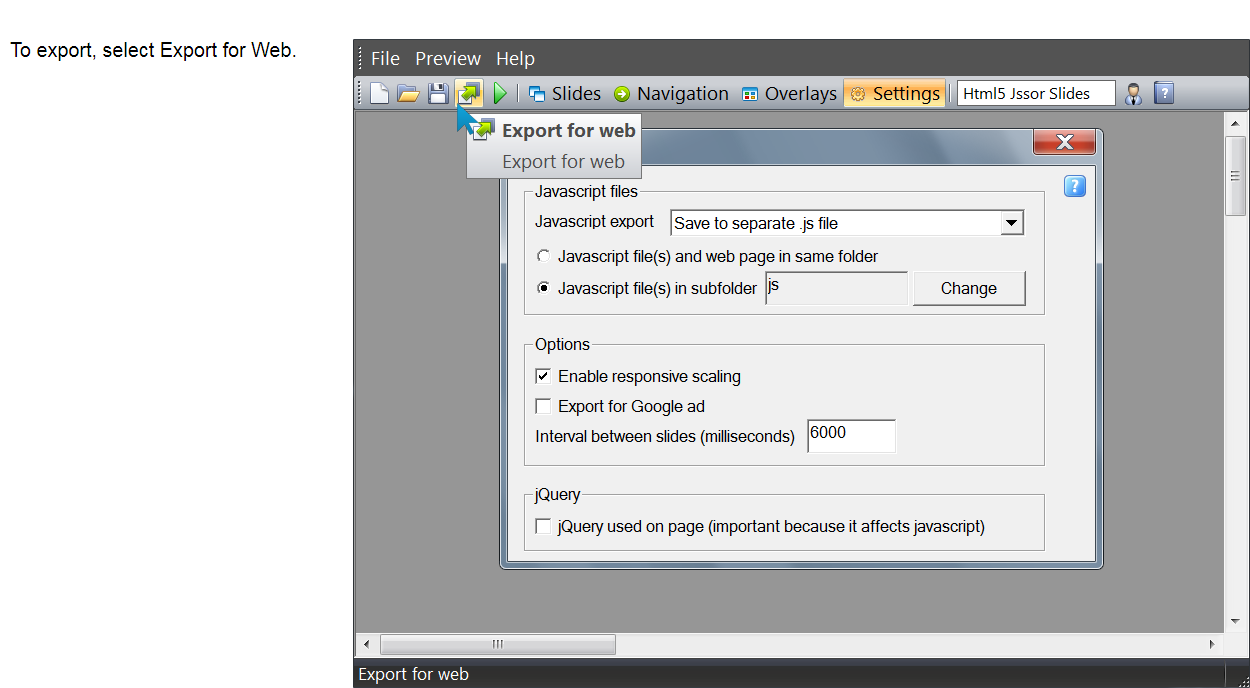select export for web