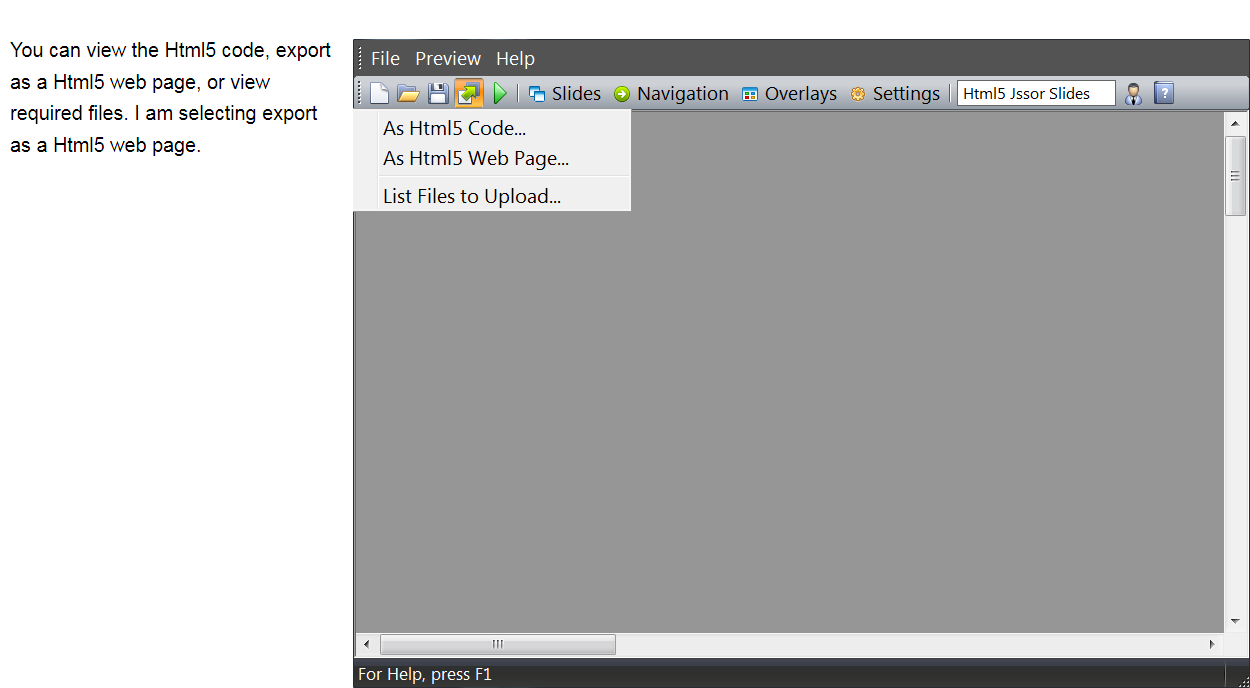 select export as html5 page