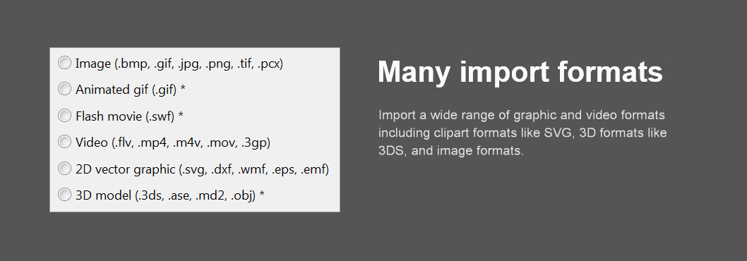 import many graphic and video formats