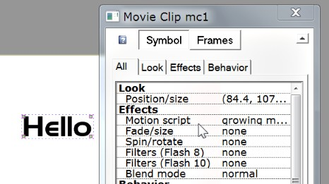 properties of movie clip show that growing mask effect has been applied